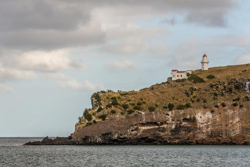 Taiaroa Head lighthouse from Aramoana mole