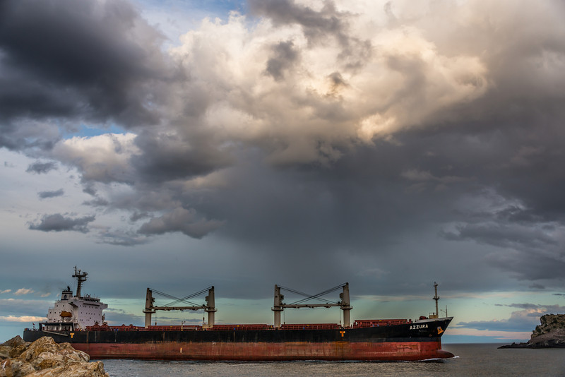 Azzura cargo ship about to enter Otago Harbour