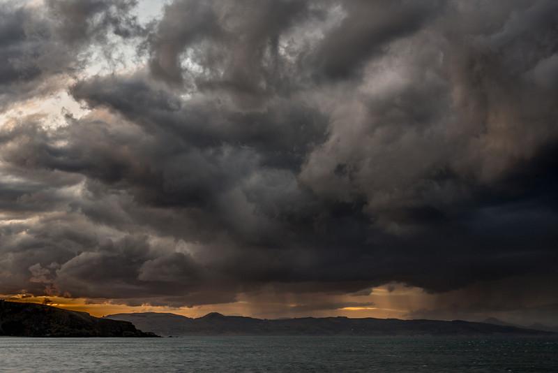 Rain showers off the coast of Otago, at Aramoana