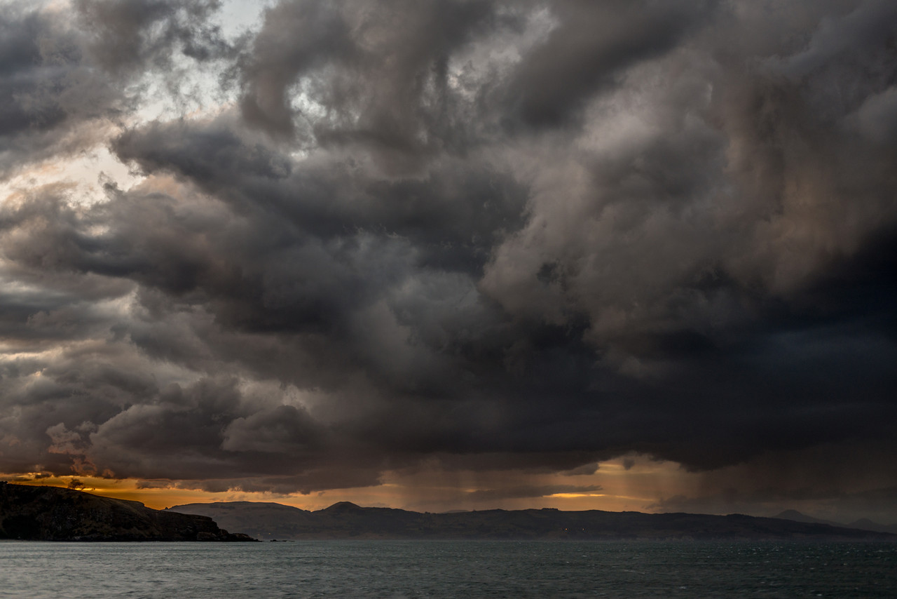 Rain showers off the coast of Otago, at Aramoana