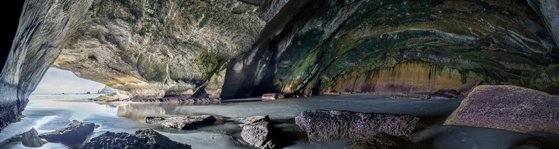 Caversham sea cave - a 180 degree panorama of the interior