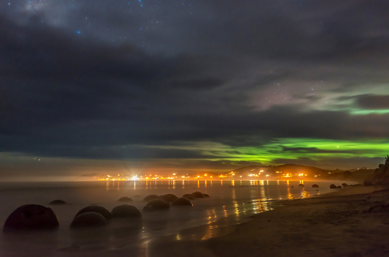 Aurora over the Moeraki Boulders. 1 June 2013