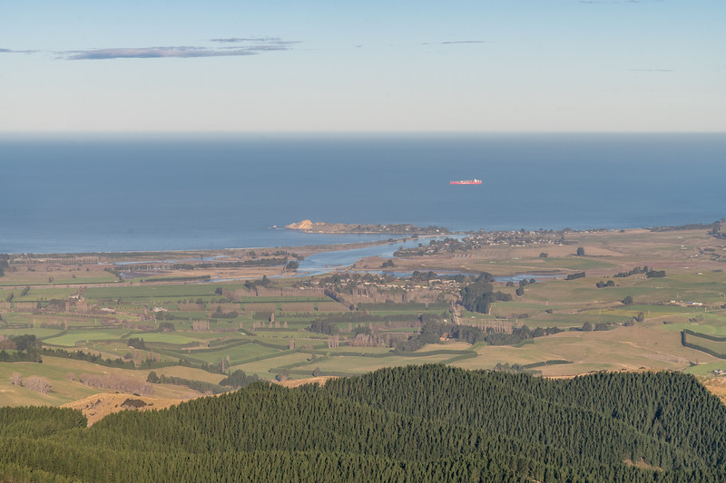 View of Huriawa Peninsula, Karitane, from the summit of Mount Watkin / Hikaroroa.