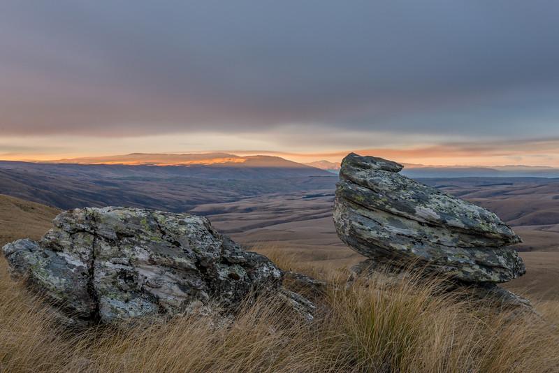 The Rock and Pillar Range at sunset