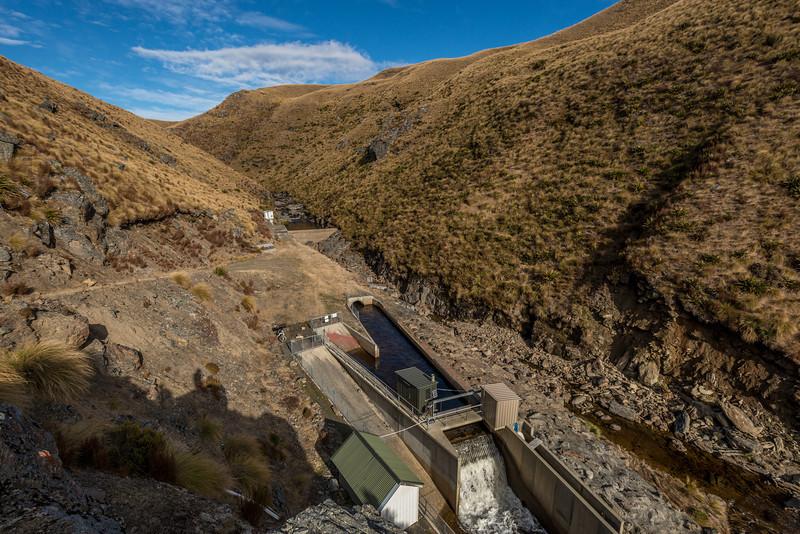 The intake of Dunedin's water supply on Deep Stream, Lammermoor Range