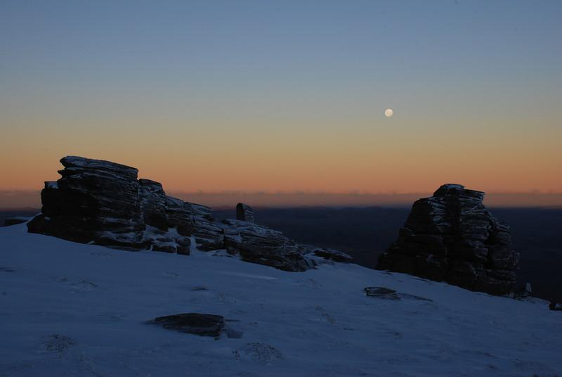 Moonrise over the Rock and Pillar Summit Rocks