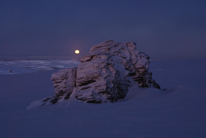 Setting moon over the Rock and Pillar Summit Rocks