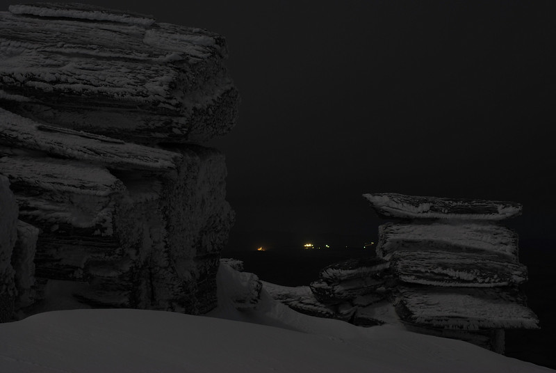 Rock and Pillar Summit Rocks by night