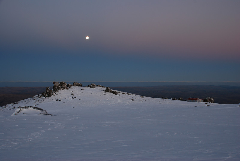Moonrise over the Rock and Pillar Summit Rocks and Big Hut