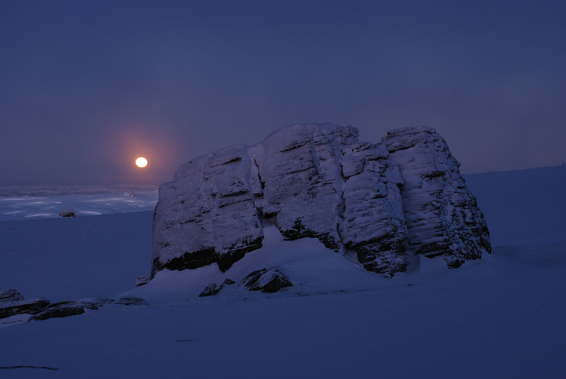 Setting moon over the Rock and Pillar Summit Rocks