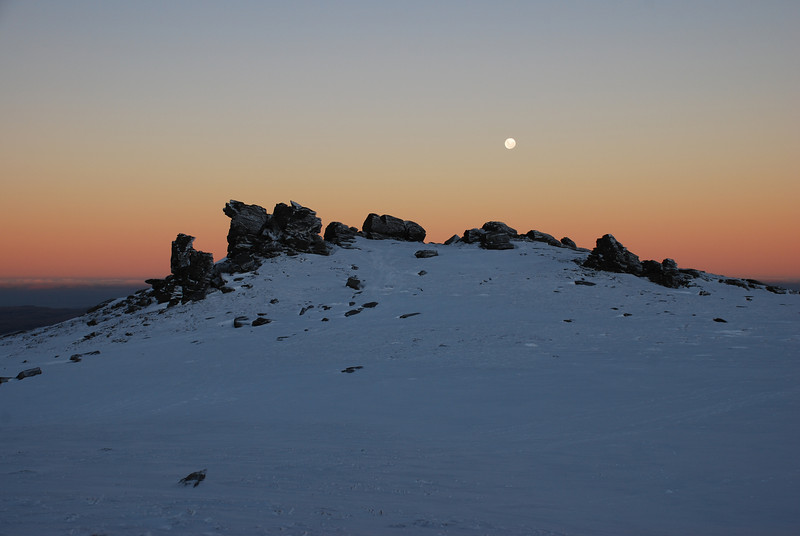 Moonrise over the Rock and Pillar Summit Rocks