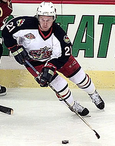 Columbus Blue Jackets' Espen Knutsen (21) takes the puck from  Atlanta Thrashers' Patrik Stefan (13) during the first period in Columbus, Ohio, Saturday Dec. 2, 2000. (AP Photo/Chris Putman)