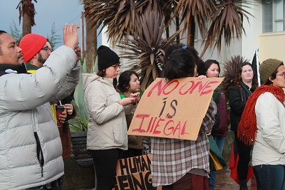 Mecha de Humboldt joins the rally at the courthouse in Eureka on Inauguration Day in support of undocumented immigrants in the area.  (Natalya Estrada - The Times-Standard)