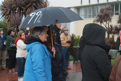 Rain or shine residents of Humboldt County gathered in front of the courthouse in Eureka to show support for people not in favor of the incoming presidential administration.  (Natalya Estrada - The Times-Standard)