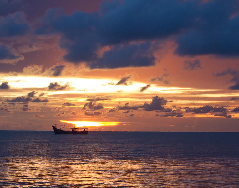 Sunset Boat. Mariari Beach, India.