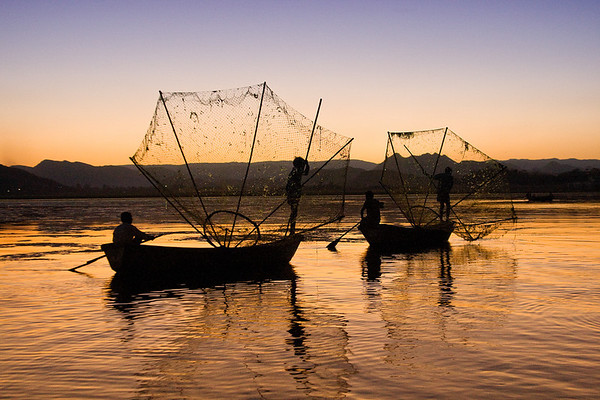 Fisherman at Sunset: Udaipur