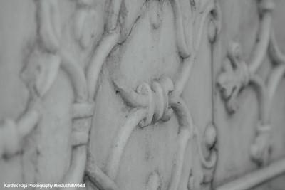 Depth of the inlay work, macro, Taj Mahal, Agra, India
