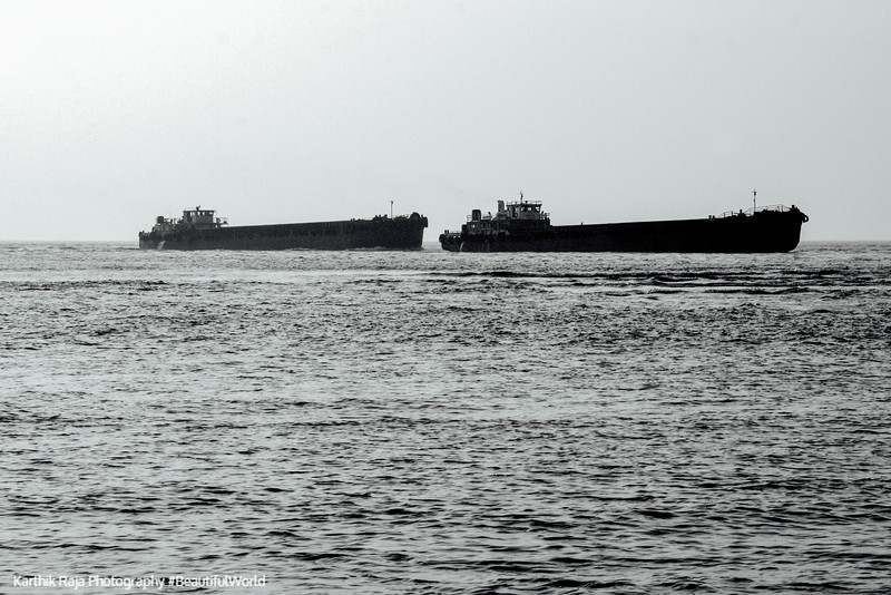 Iron ore ships, Goa, India