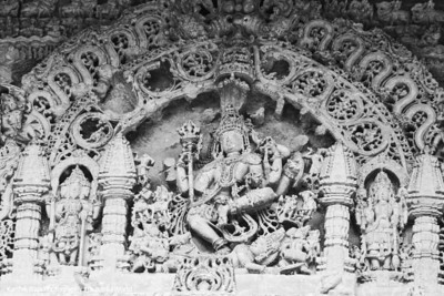 slaying a demon (Andhaka), Hoysaleswara temple, Halebidu