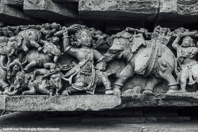 Bheema slaying elephants, Mahabharata war, Hoysaleswara temple, Halebidu