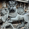 Sculpture of the Hoysala emblem in the Chennakeshava temple at Belur