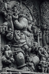 A relief of the Hindu god Ganesha at Hoysaleshwara temple in Halebidu