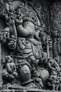 A relief of the Hindu god Ganesha at Hoysaleshwara temple in Halebidu