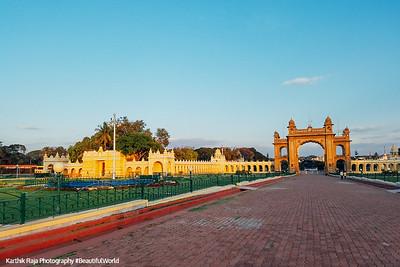 Jayamartaanda Gate, Gardens, Mysore Palace, Karnataka, India