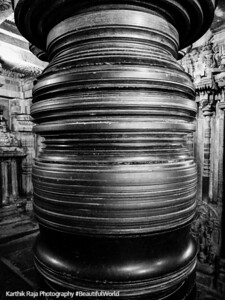 Lathe turned columns, Elephants and horses walking in circles, Chennakesava Temple, Somanathapura, Karnataka, India