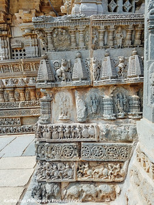 Relief carvings on tiered (tala) superstructure over the shrine (vimana) , Chennakesava Temple, Somanathapura, Karnataka, India