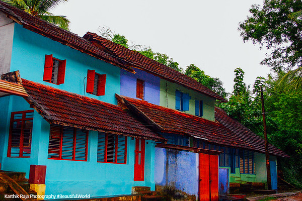 Colored houses, Melarcode, Kerala