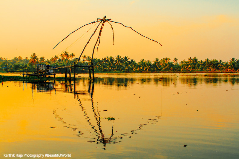Cheena vala, Chinese Fishing net, Sunset, Lake Vembanad, Vayalar, Kerala