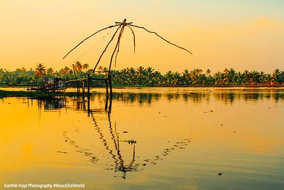 Cheena vala, Chinese Fishing net, Sunset, Lake Vembanad, Vayalar, Kerala