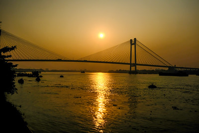 Sunset, Vidyasagar Setu, Bridge, James Prinsep Ghat, Kolkata, India