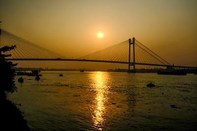 Sunset, Vidyasagar Setu, Bridge, James Prinsep Ghat, Kolkata, India