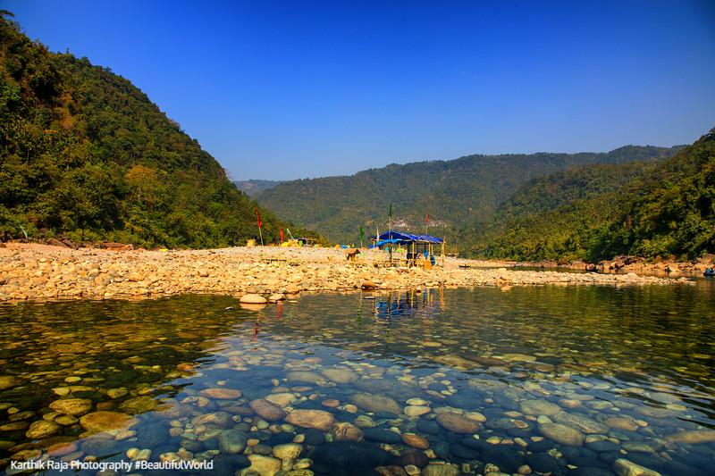 Crystal Clear water of Dawki River, Meghalaya - India - Bangaladesh Border