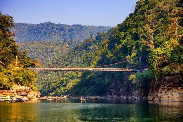 Dawki Bridge, Dawki River, Meghalaya - India - Bangaladesh Border, Jaflang Zero Point