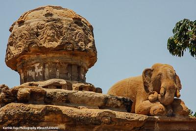 Elephant sculpture - Kailasnatha temple, Kanchipuram, India
