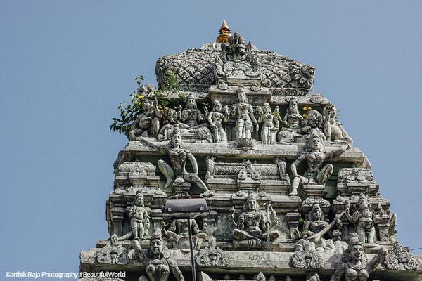 Kamakshi Amman temple gopuram details, Kanchipuram, India