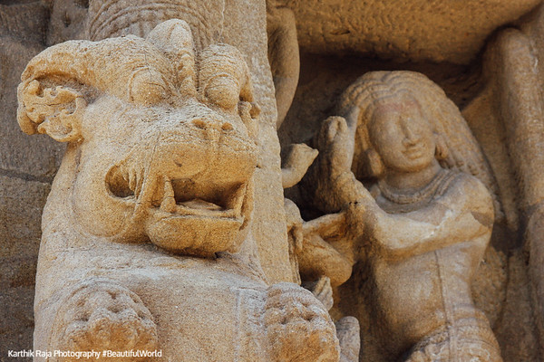 Sculptures, Yalli, Kailasnatha temple, Kanchipuram, India