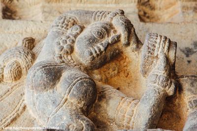 Hall of 100 pillars - Dancer and a mirror, Varadaraja Perumal Temple, Kanchipuram, India