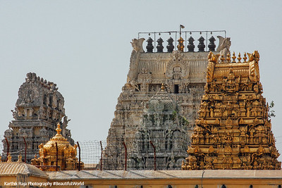 Kamakshi Amman temple - golden gopurams, Kanchipuram, India