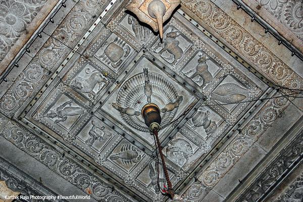 Zodiac signs on the ceiling, Sivan Temple, Karaikudi, India