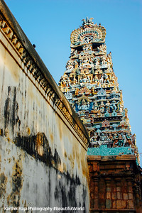 Gopuram tower view from the inside, Sarangapani Temple, Kumbakonam, India