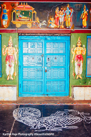 Decorated door, Sarangapani Temple, Kumbakonam, India