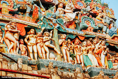 Main Gopuram of the Sarangapani Temple, Erotic poses, Kumbakonam, India