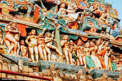 Main Gopuram of the Sarangapani Temple, Erotic poses, Kumbakonam, India