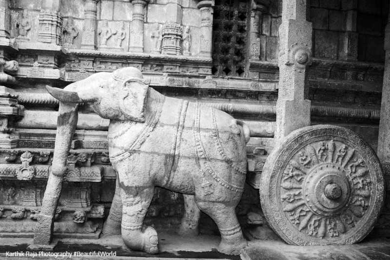 Chariot being pulled by the elephant, Sculpture, Sarangapani Temple, Kumbakonam, India
