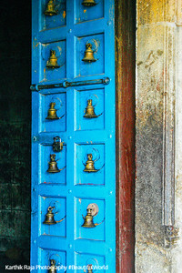 Blue door with bells, Sri Chakrapani Temple, Kumbakonam, India
