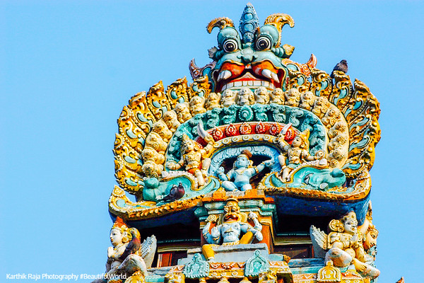 Top of the Gopuram tower, Sarangapani Temple, Kumbakonam, India